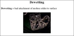 Dewetting=bad attachment of molten solder to surface