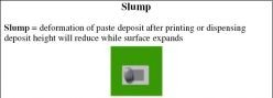 Slump = deformation of paste deposit after printing or dispensing deposit height will reduce while surface expands